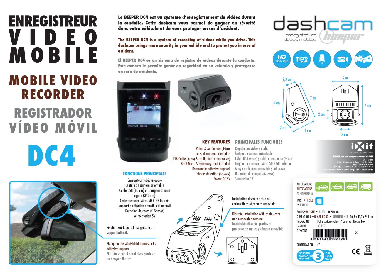 Fiche produit Dashcam DC4 Beeper