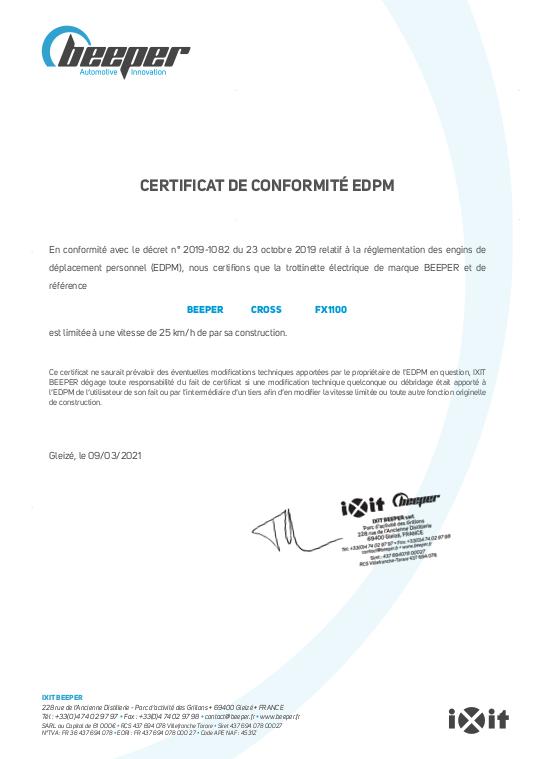 Trottinette électrique CROSS - Certificat de conformité EDPM