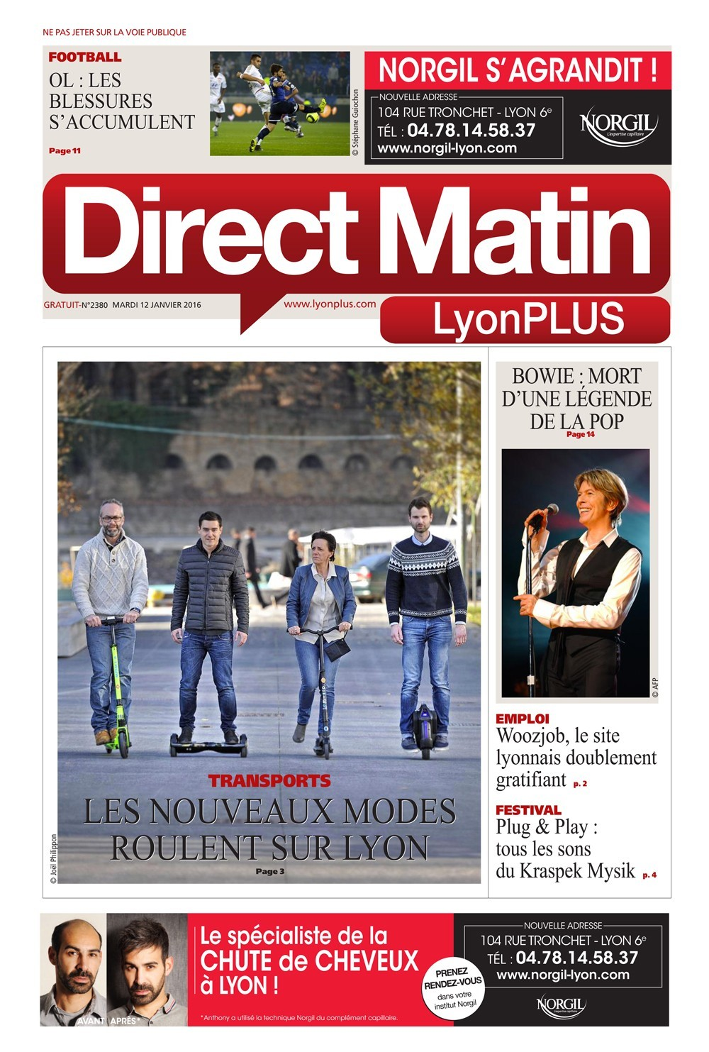 Couverture Direct Matin Lyon Plus - BEEPER Road